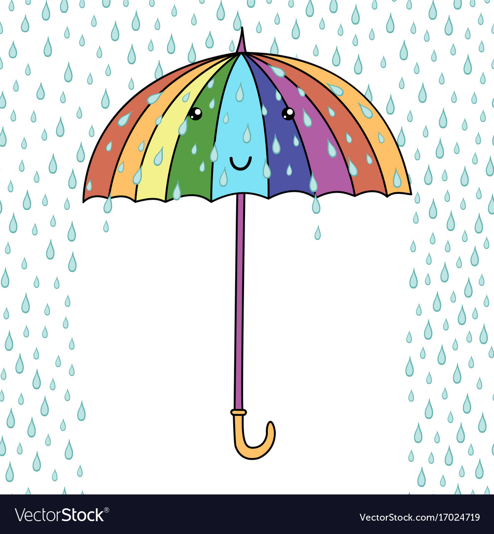 cute cartoon smiling umbrella with face rainfall vector image