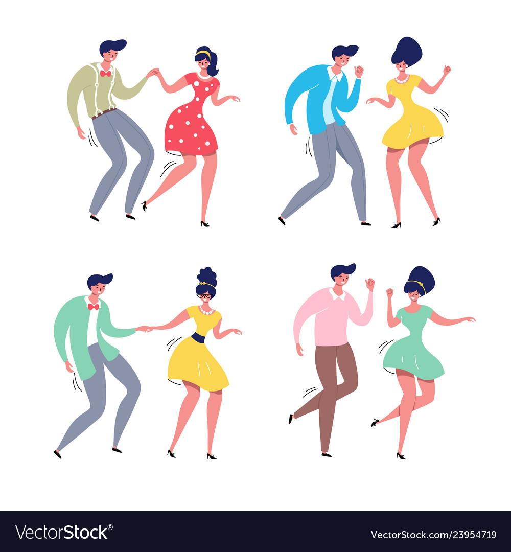 Dancing couple rockabilly dance swing dancers
