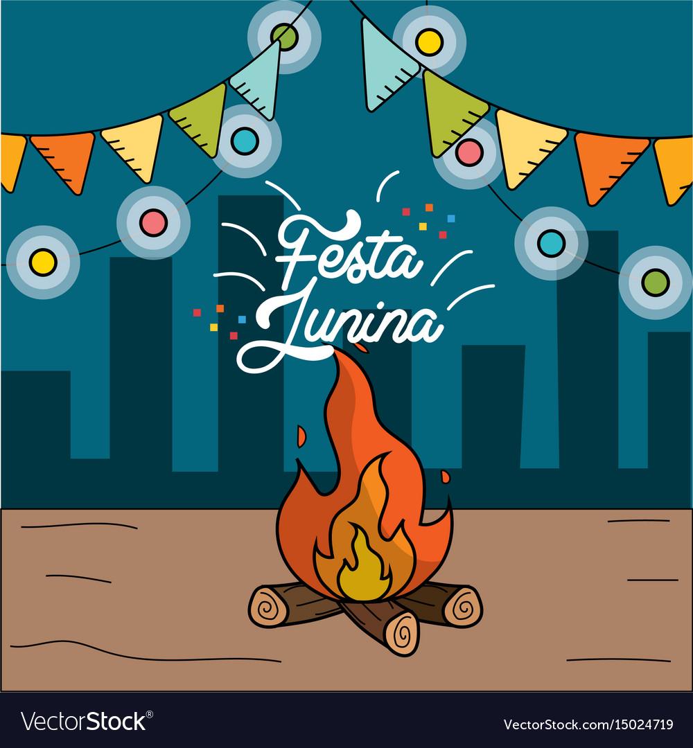 Festa Junina With Wood Fire And Chain Bulbs