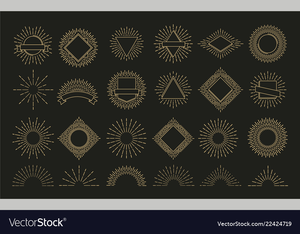 Gold sunburst retro burst radial emblem sunrise