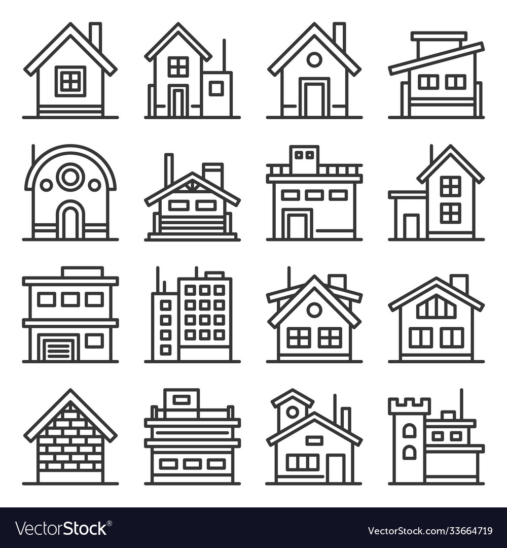 Home and house buildings icons set line style