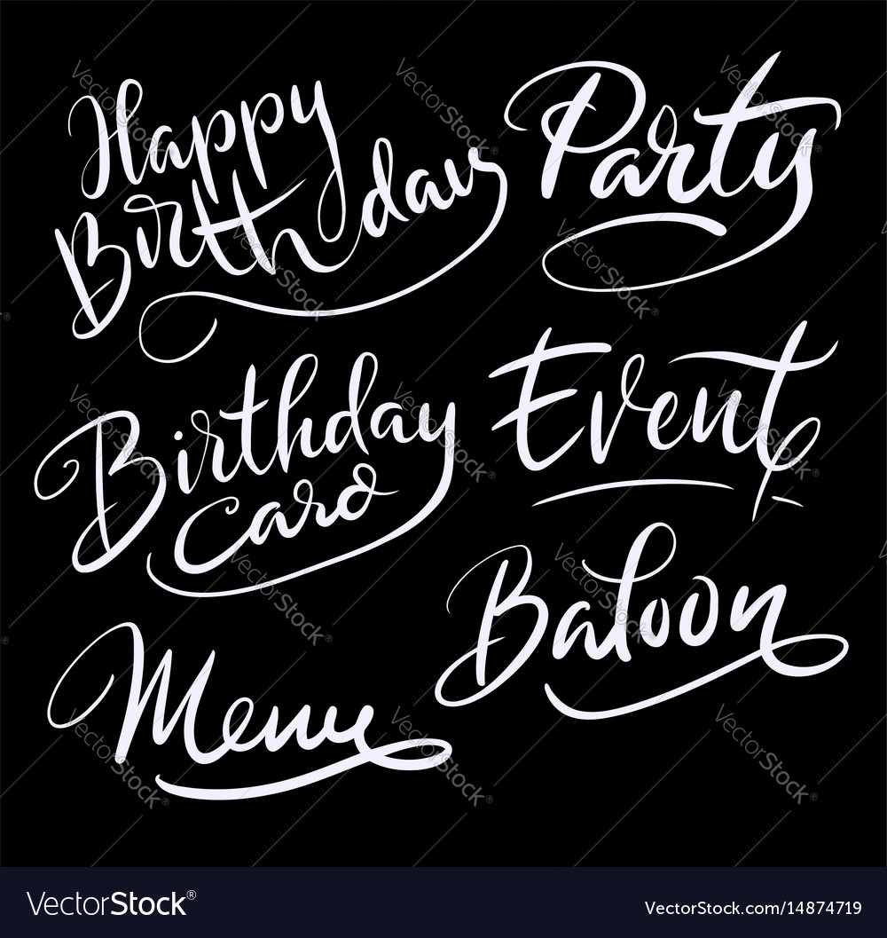 Party and birthday hand written typography