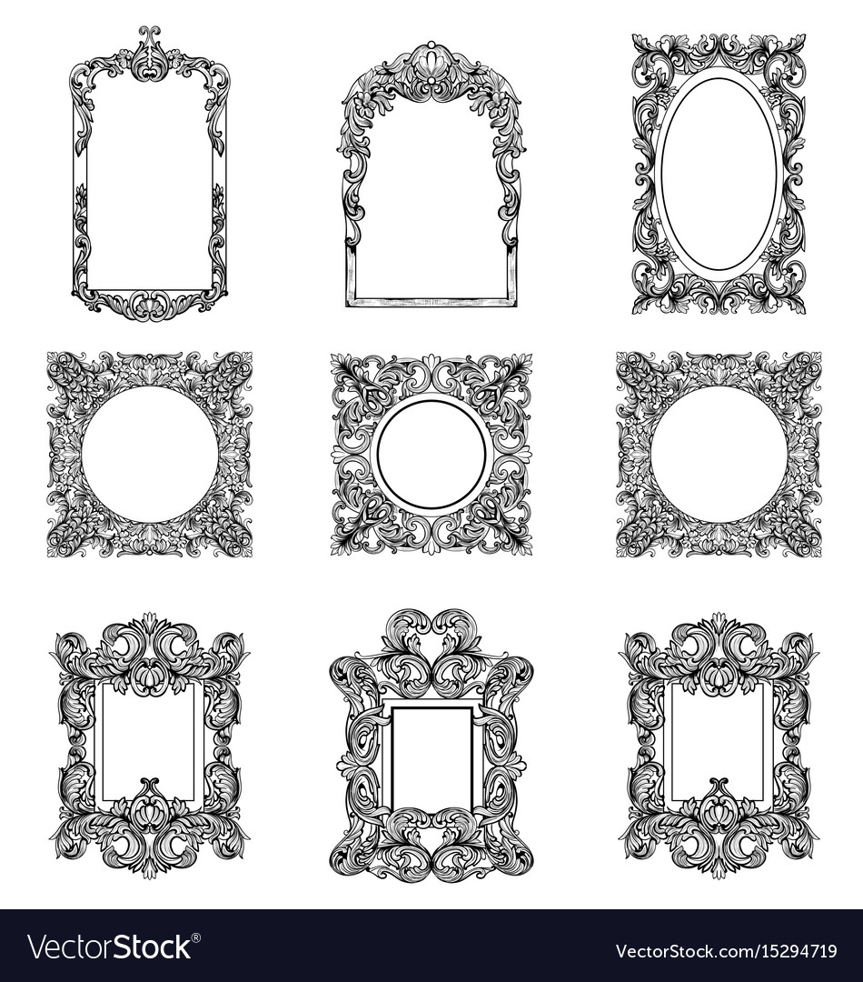 Rich imperial baroque rococo frames set french
