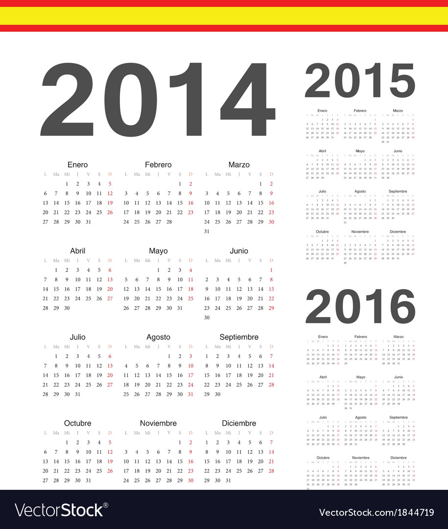 Set of Spanish 2014 2015 2016 calendars Royalty Free Vector