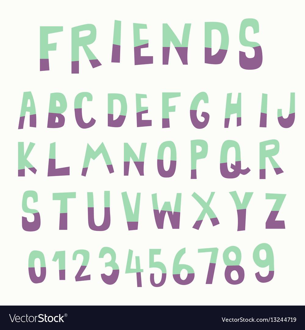 Two tone color doodle font