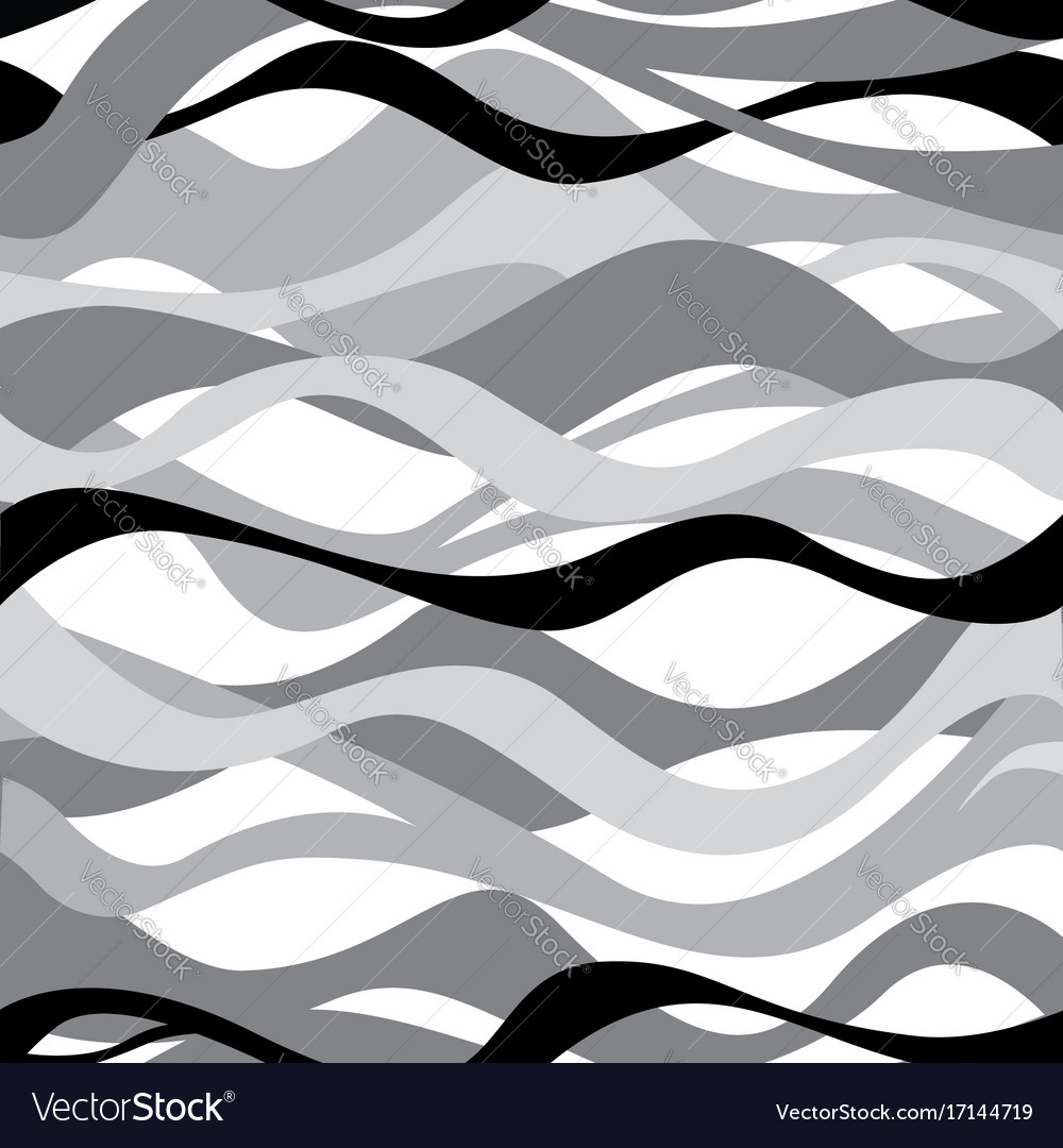 Wave seamless pattern black and white background