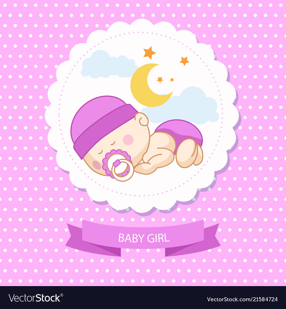 Baby new born girl blue card shower template