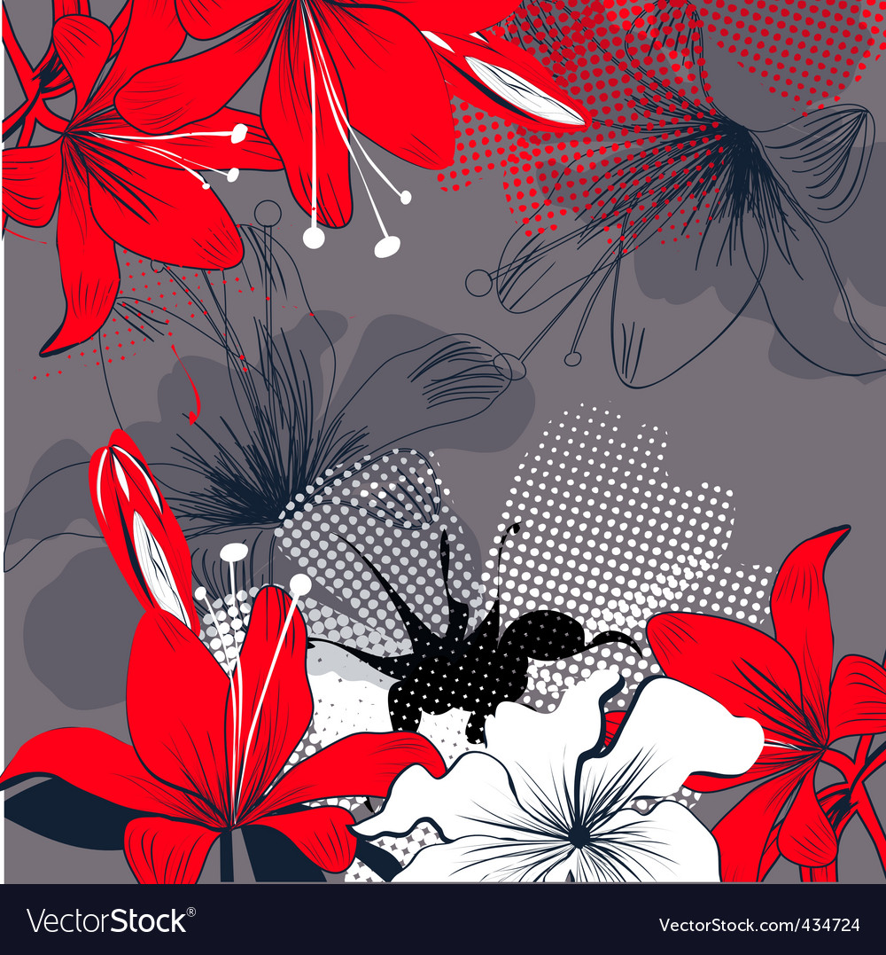 Background with red lily flowers royalty free vector image background with red lily flowers vector image izmirmasajfo