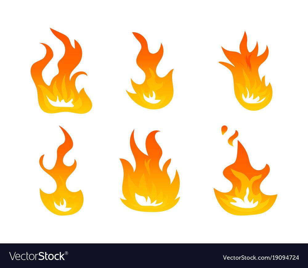 cartoon fire flames set ignition light royalty free vector rh vectorstock com cartoon flame ring cartoon flame thrower