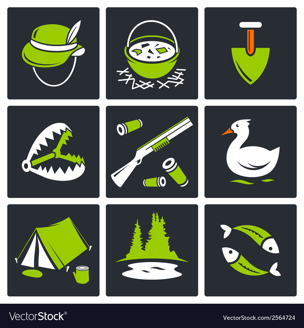 Color hunting and fishing icon set vector image