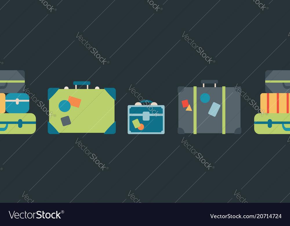 Colorful luggage seamless border