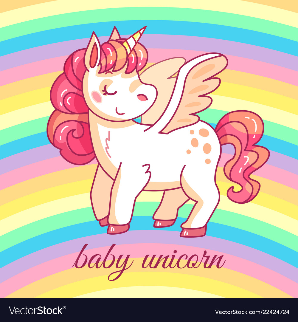 Cute baby unicorn cartoon fairy magic pony on