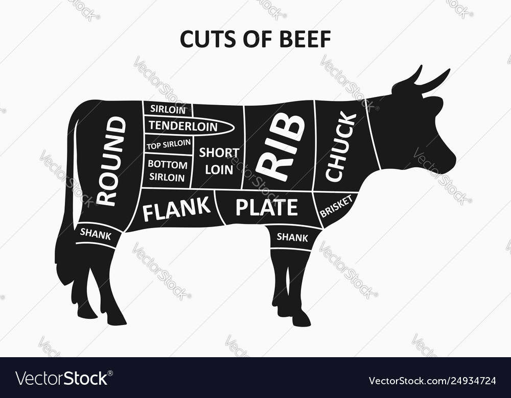 Cuts beef scheme with cow meat cuts poster