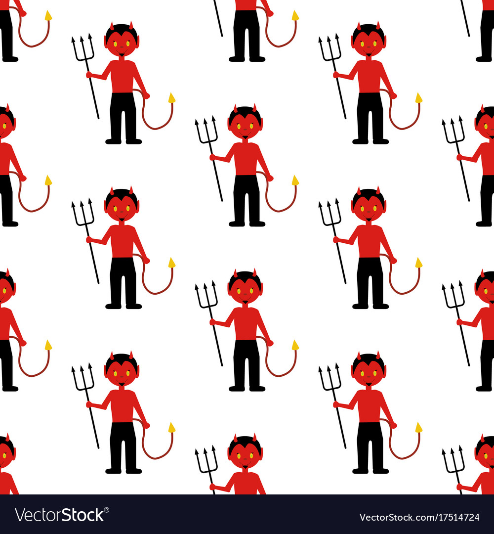 Devil halloween costume pattern vector image