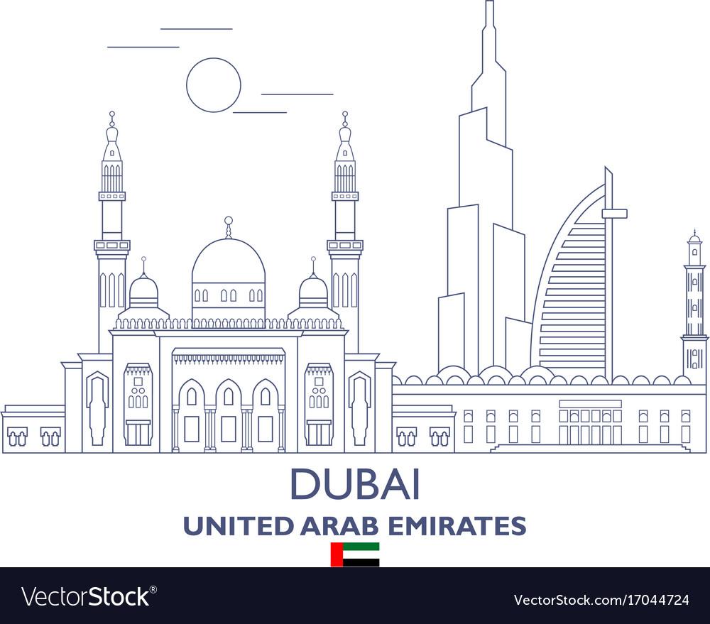 Dubai city skyline vector image