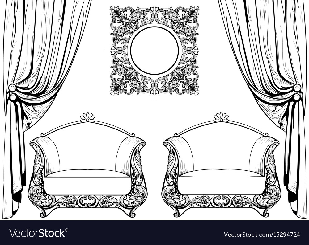 Exquisite imperial baroque armchair and mirror