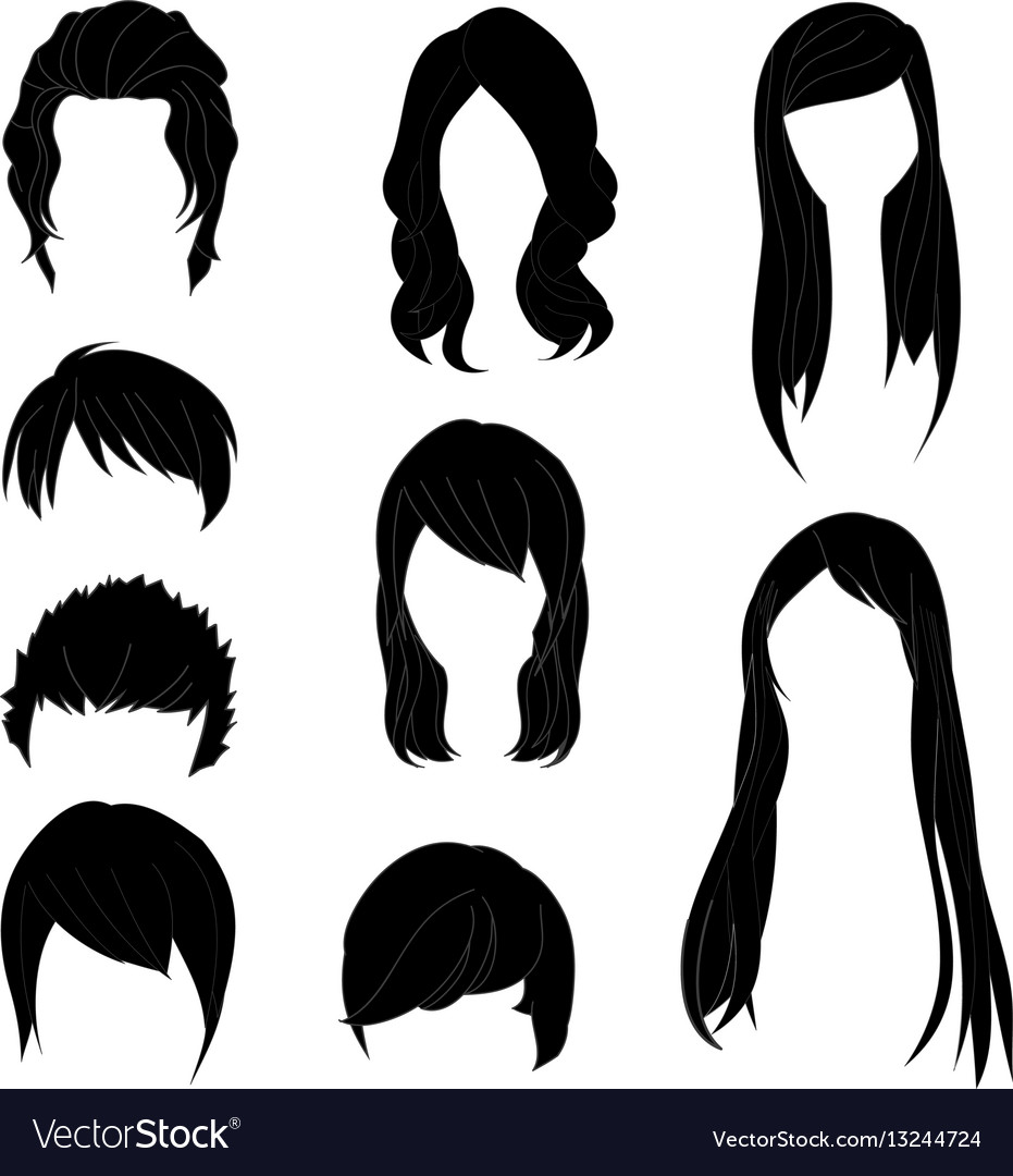 Hairstyle man and woman black1 vector image
