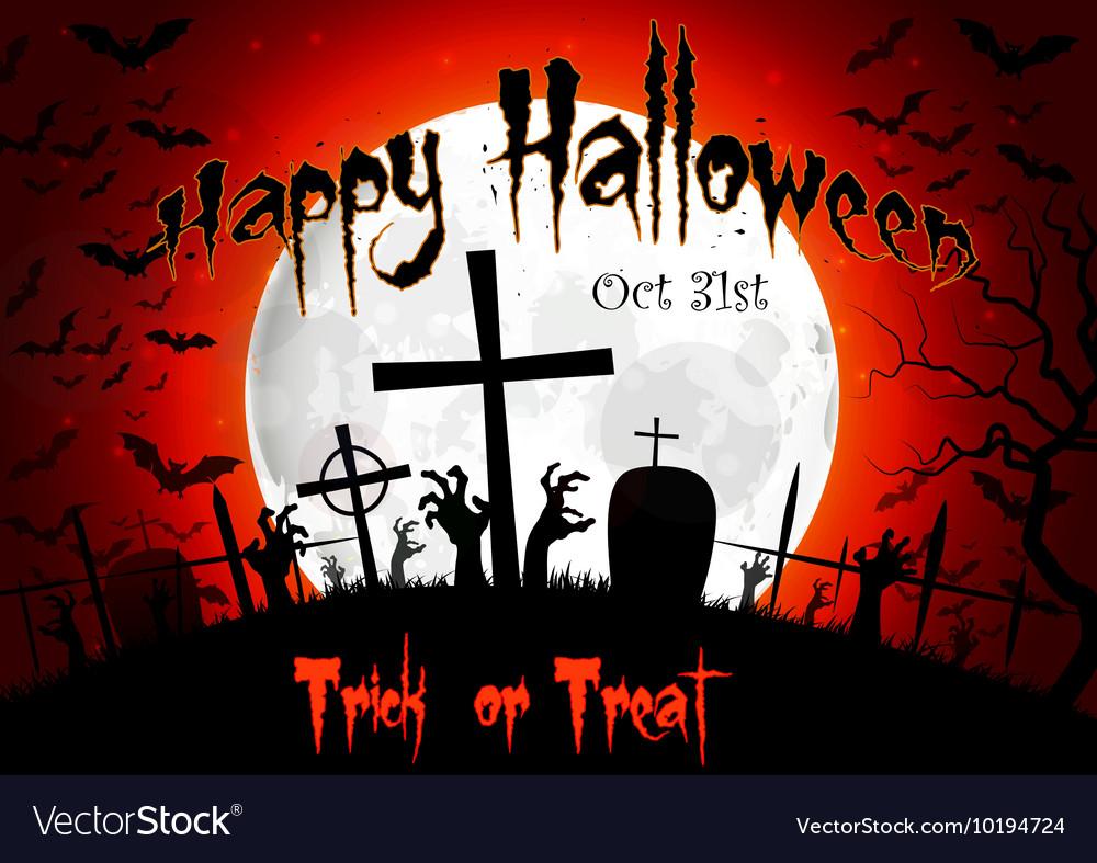 Halloween grave on full moon background