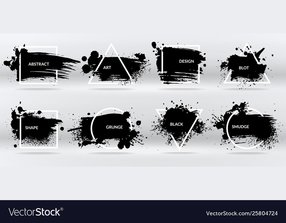 Ink blots abstract shapes frames with black