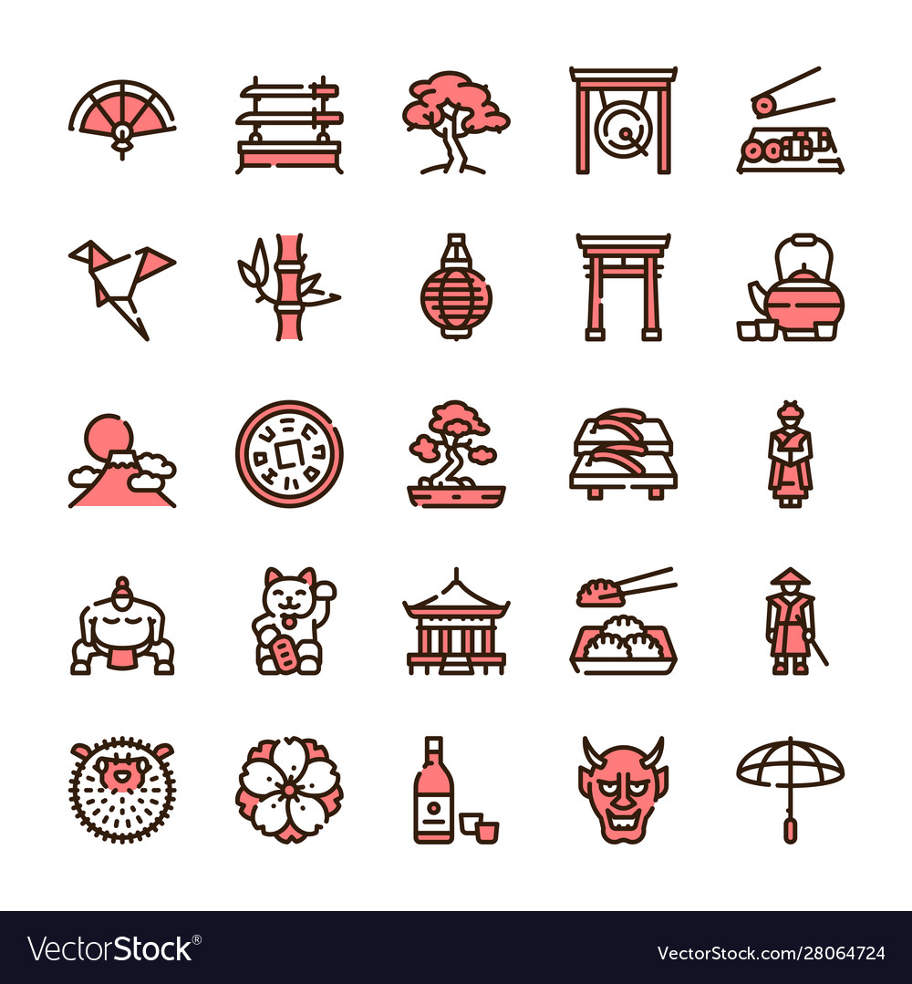 Japan items color linear icons set