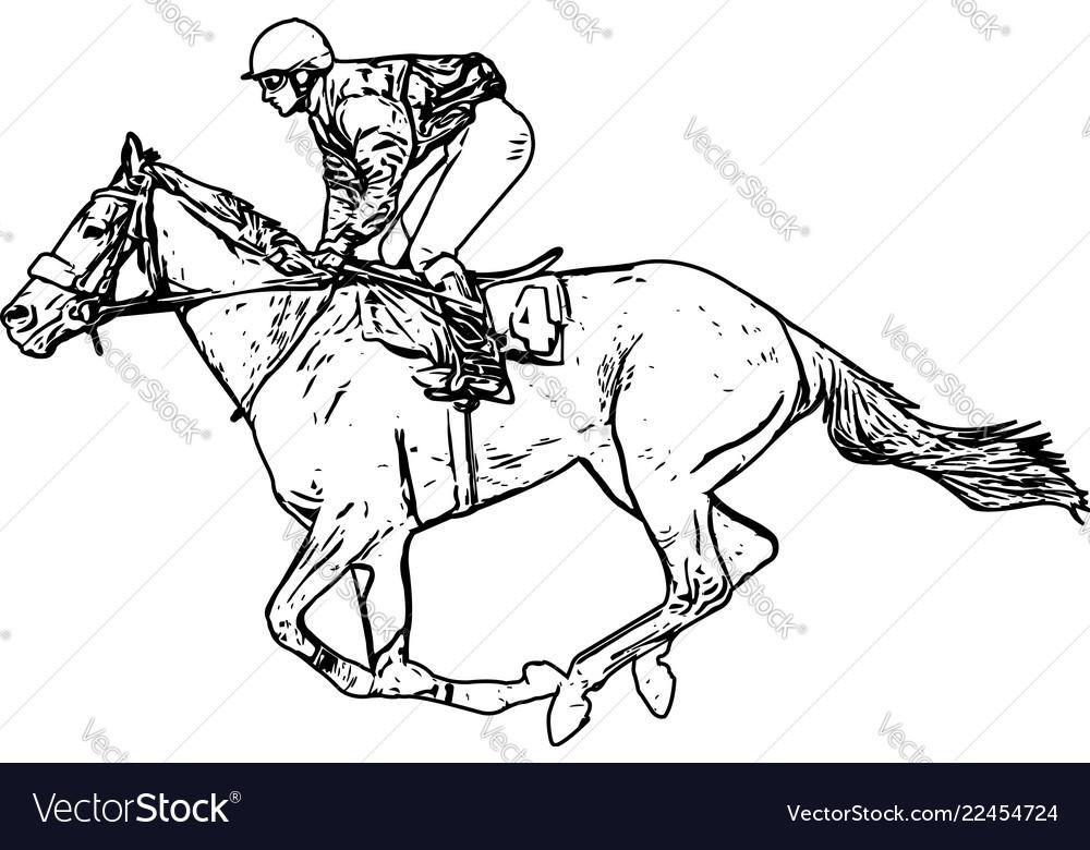 Jockey Riding Race Horse Drawing Royalty Free Vector Image