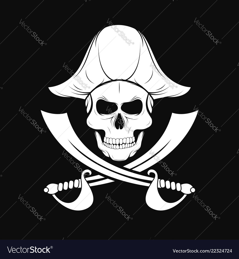 Pirate skull in captain hat with crossed sabers