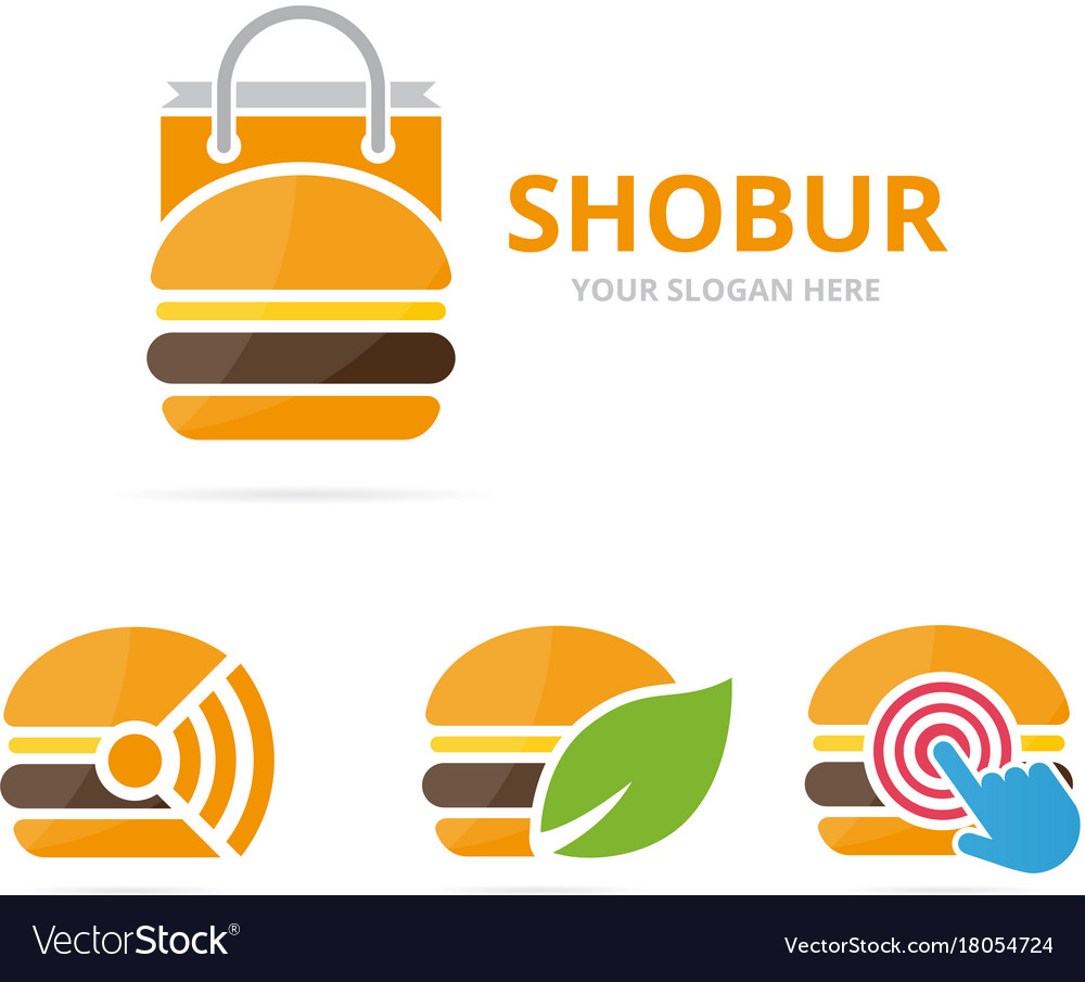 Set of burger logo combination hamburger and sale