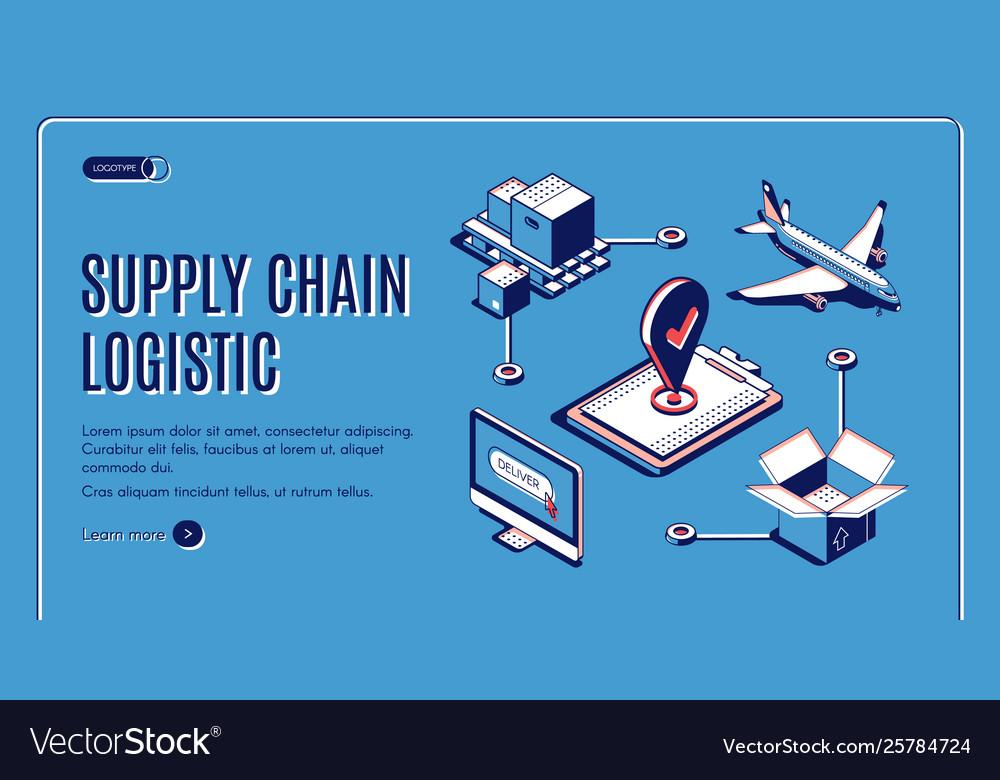 Supply chain logistic isometric web landing banner