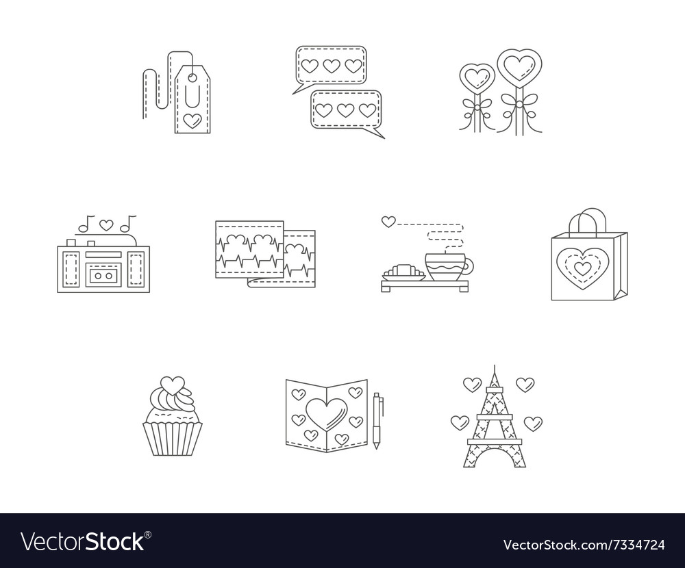 Thin line style love story icons vector image
