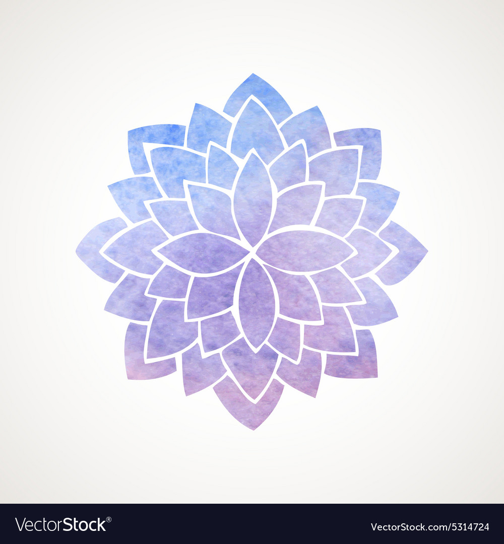Watercolor Lotus Flower Blue And Violet Royalty Free Vector