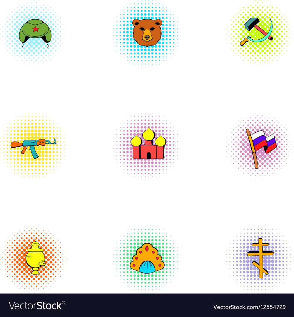 Attractions of Russia icons set pop-art style