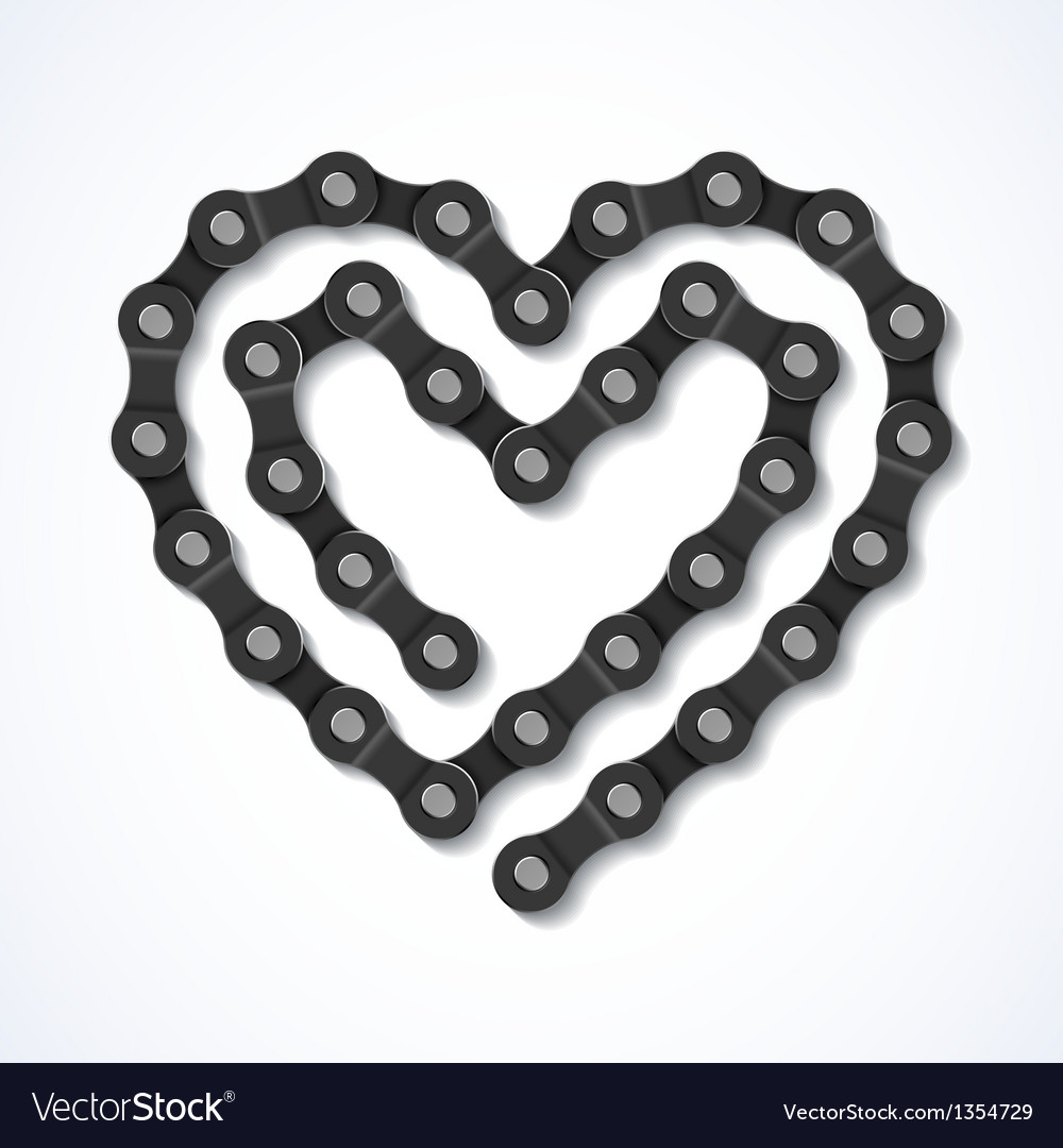 Bicycle chain heart vector image