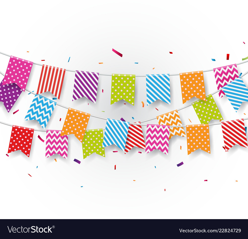 Birthday flags with colorful confetti
