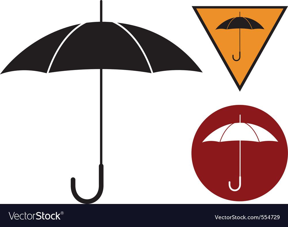 Black silhouette of umbrella on the white vector image