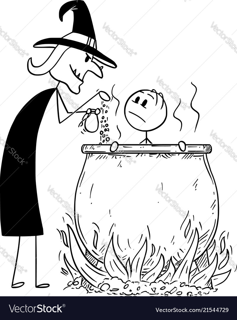 Cartoon of man boiled by evil witch in cauldron