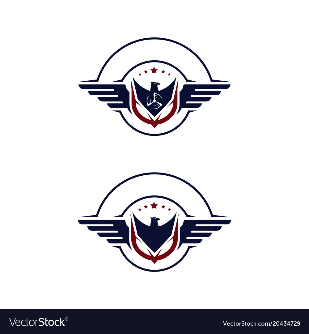 Emblem wings of falcon and propeller vector image