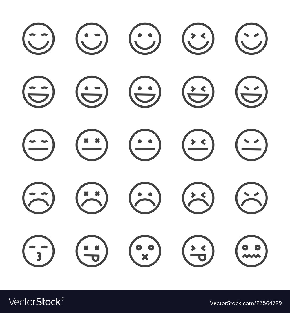 Emoticons lines icons set