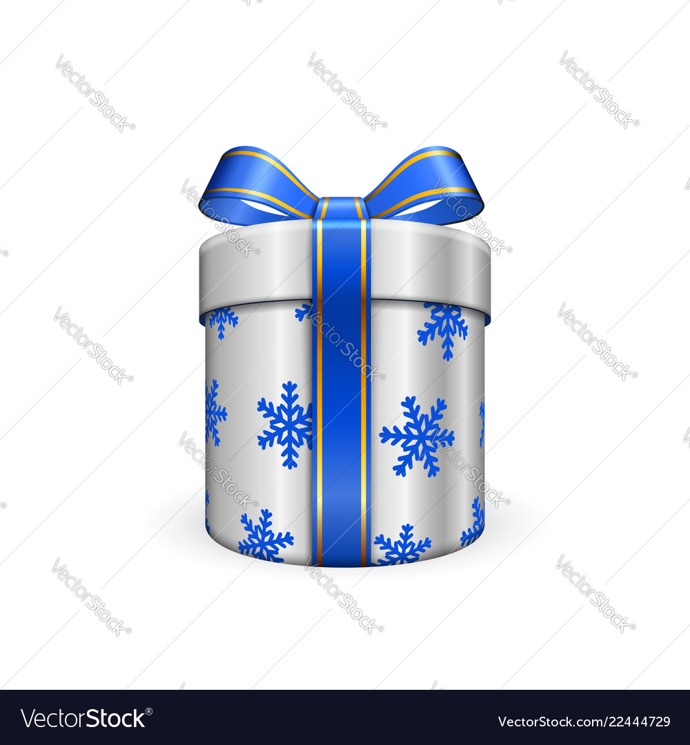 Gift box 3d blue ribbon bow isolated white