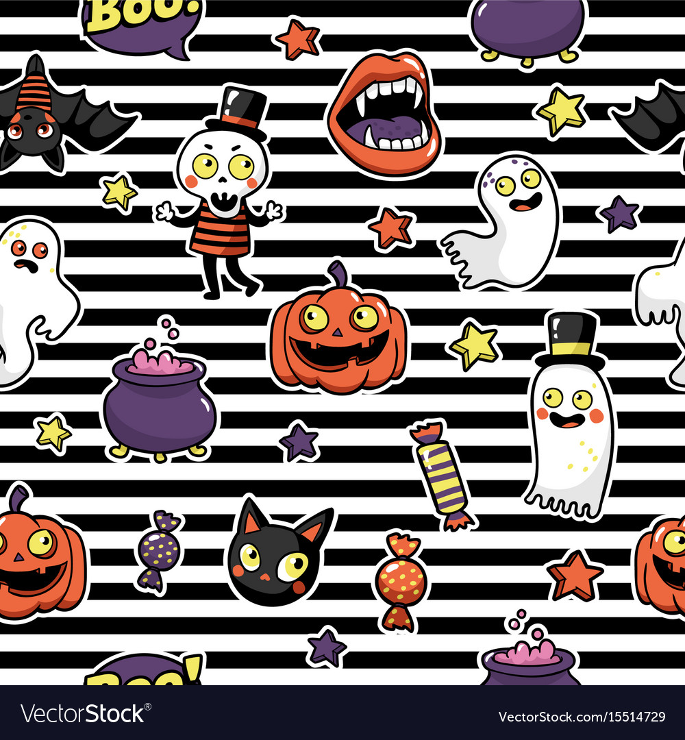 Halloween seamless pattern in cartoon comic style