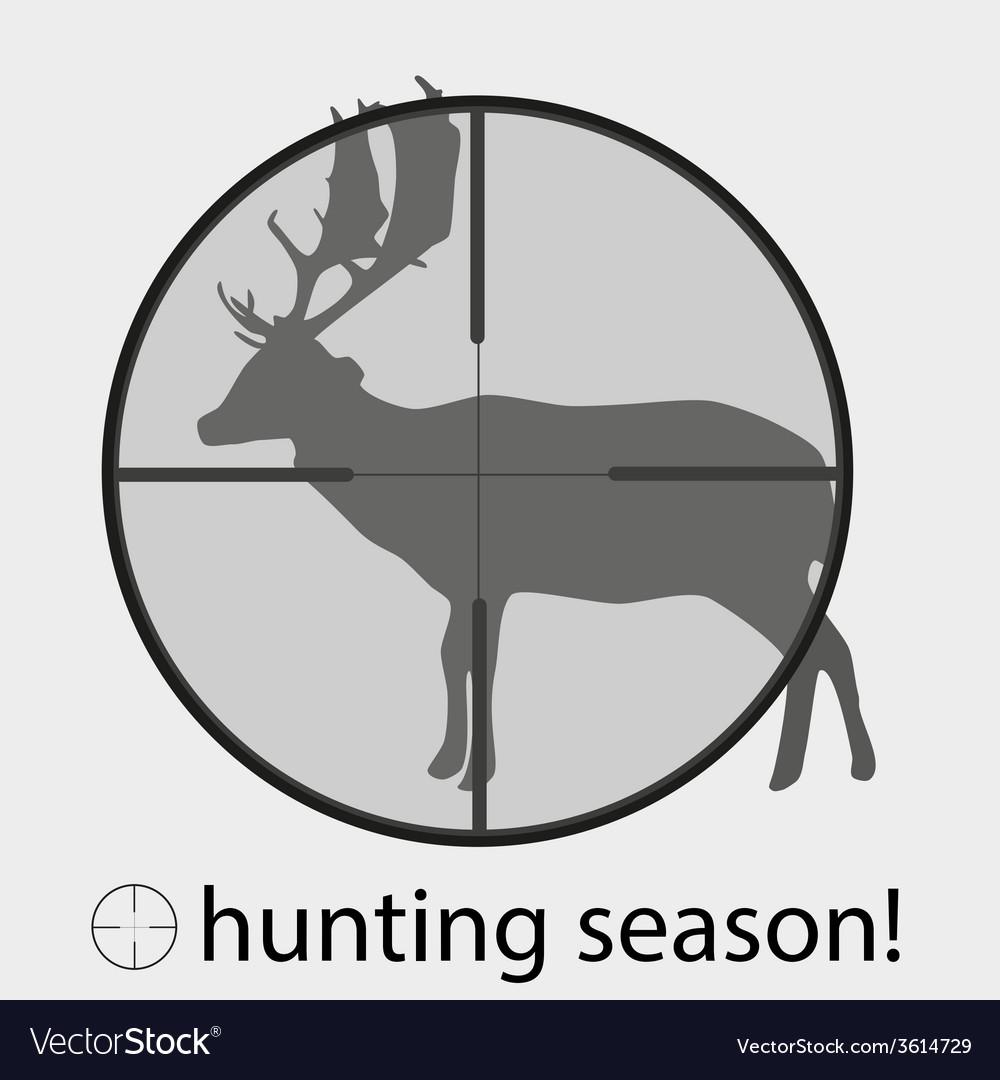 Hunting season with deer in gunsight eps10 vector image