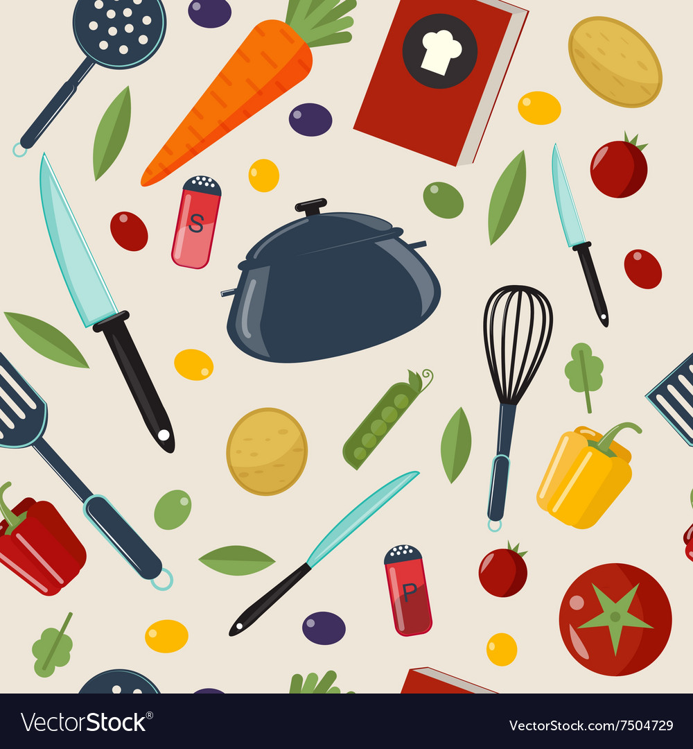 Kitchen Healthy Cooking Seamless Pattern vector image