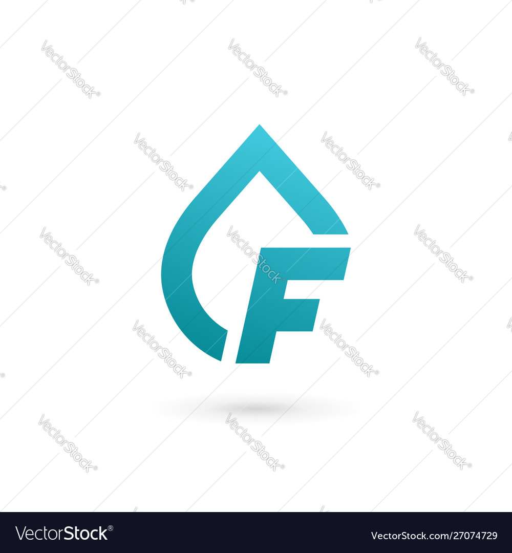 Letter f water drop logo icon design template