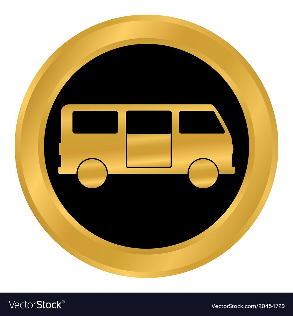 Minibus button on white