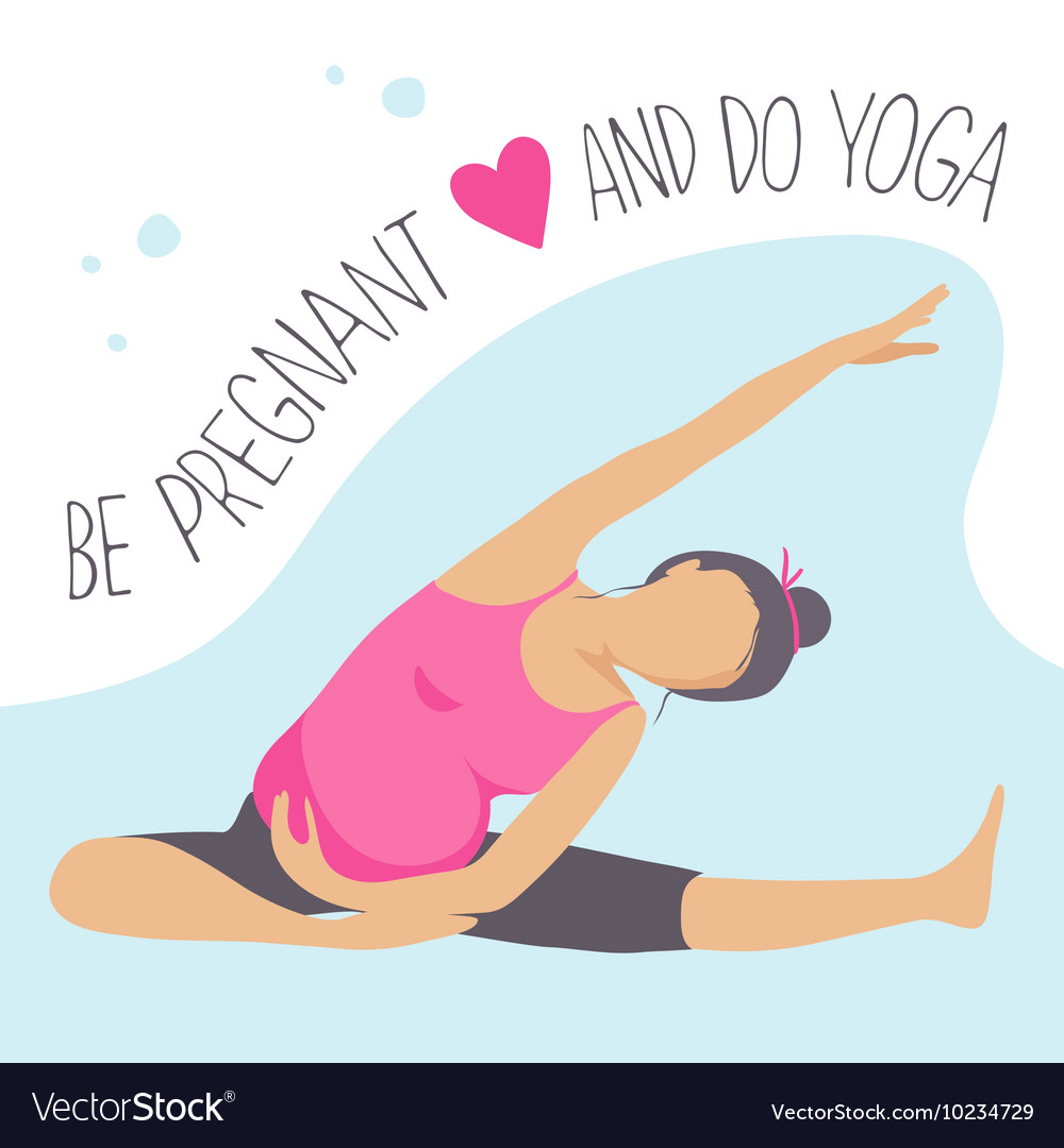 Prenatal Yoga Pregnant Woman Doing Exercise Vector Image
