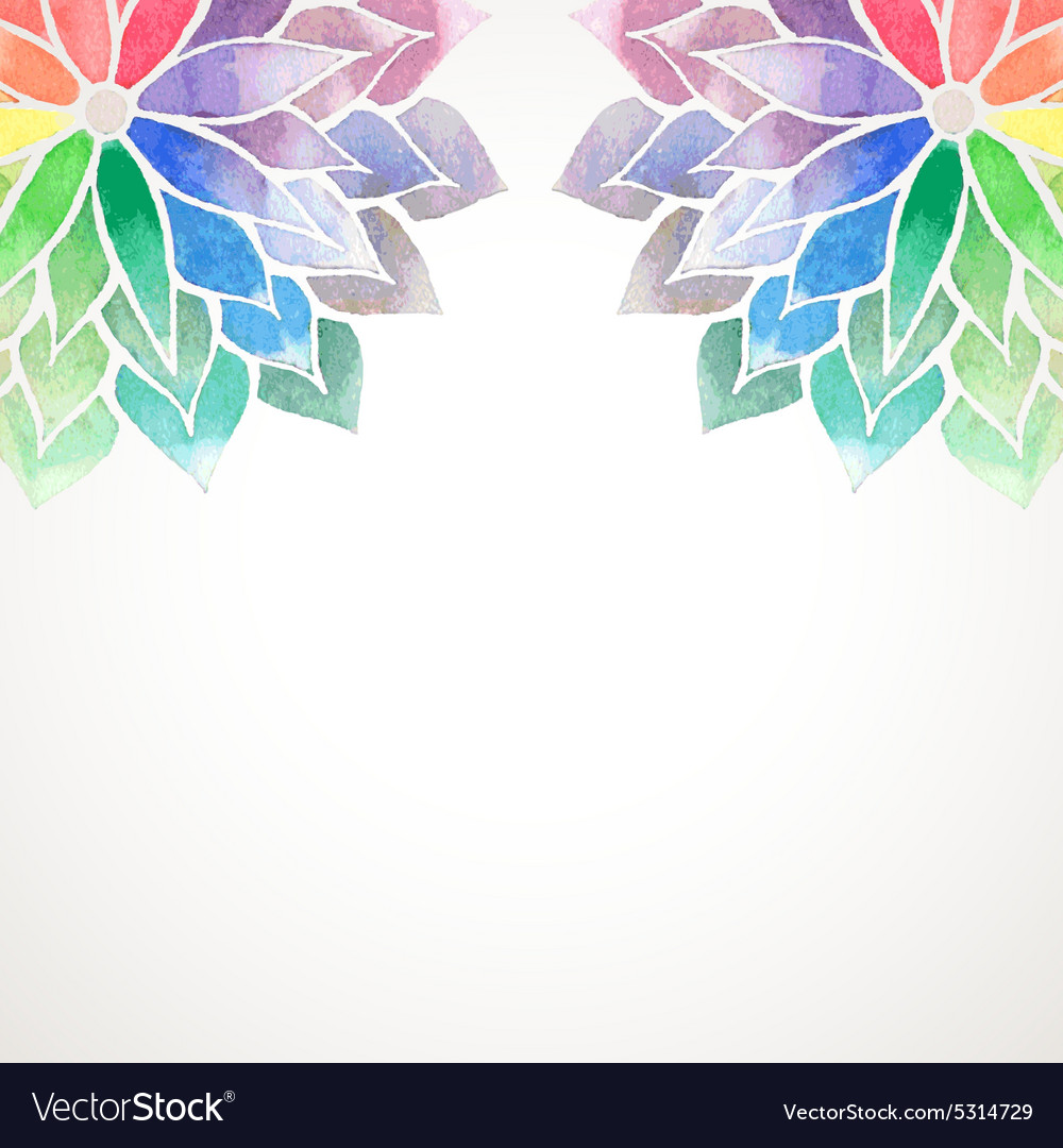 Rainbow watercolor painted flowers on white