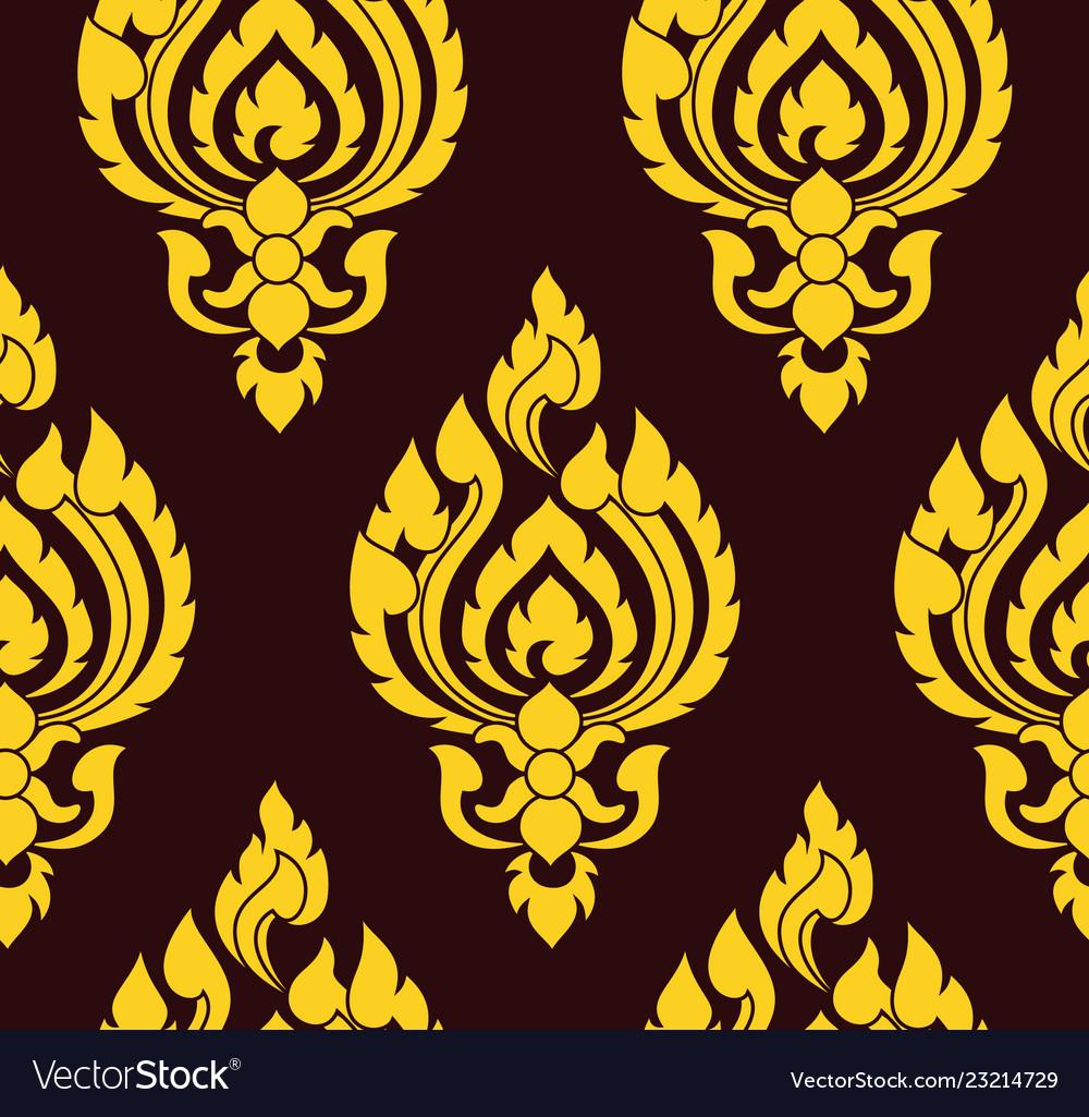 Yellow and brown damask pattern royal oriantal
