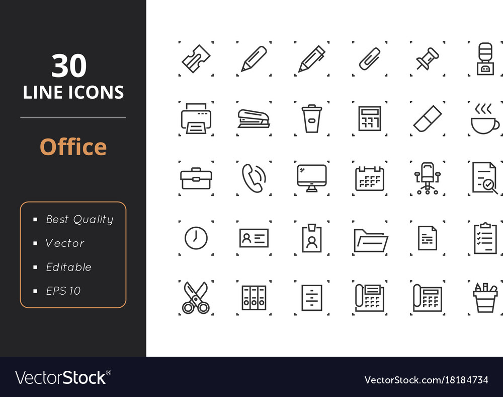 30 office line icons