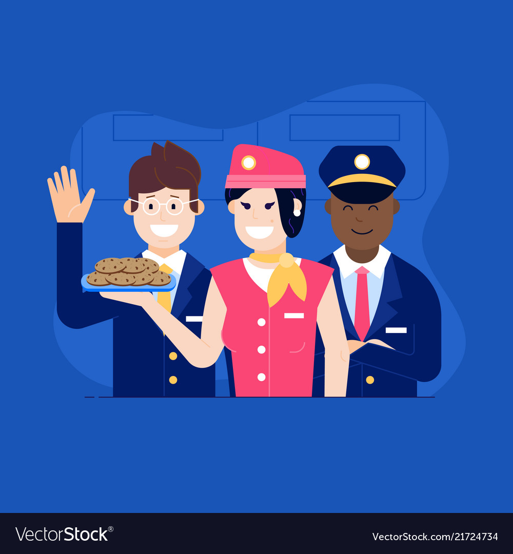 Aircraft crew with stewardess offering food