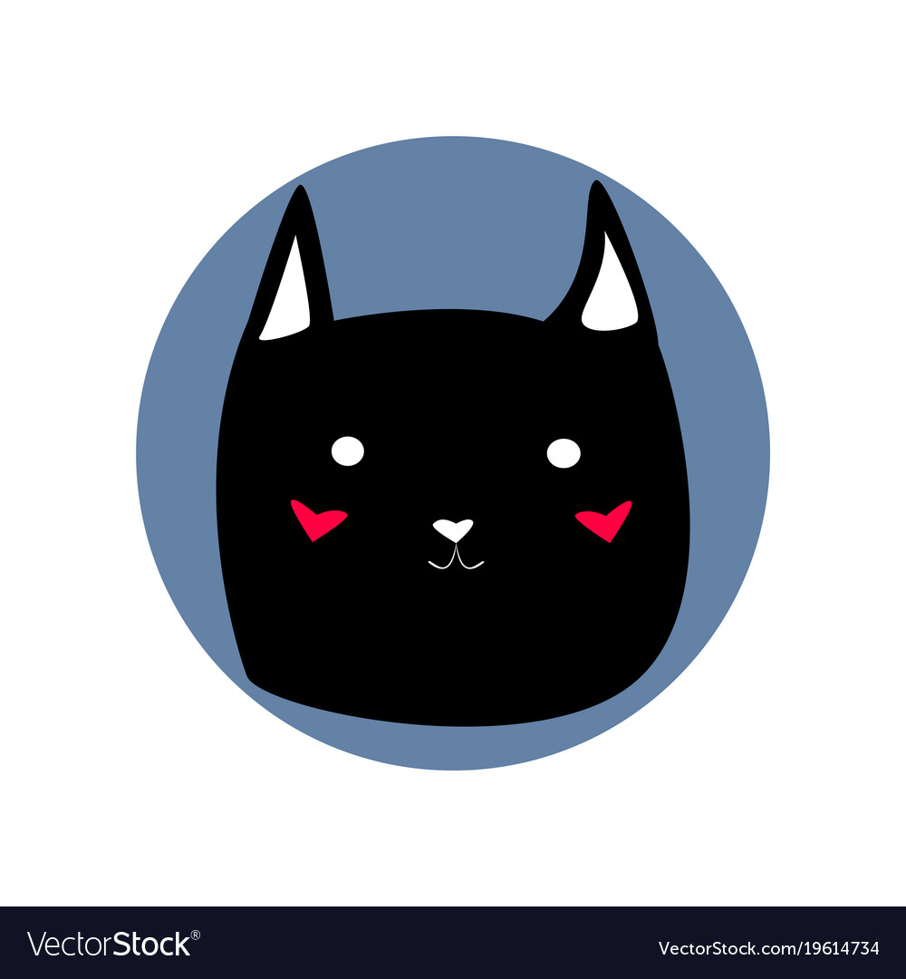 black cute cartoon style cat shape blue circle vector image