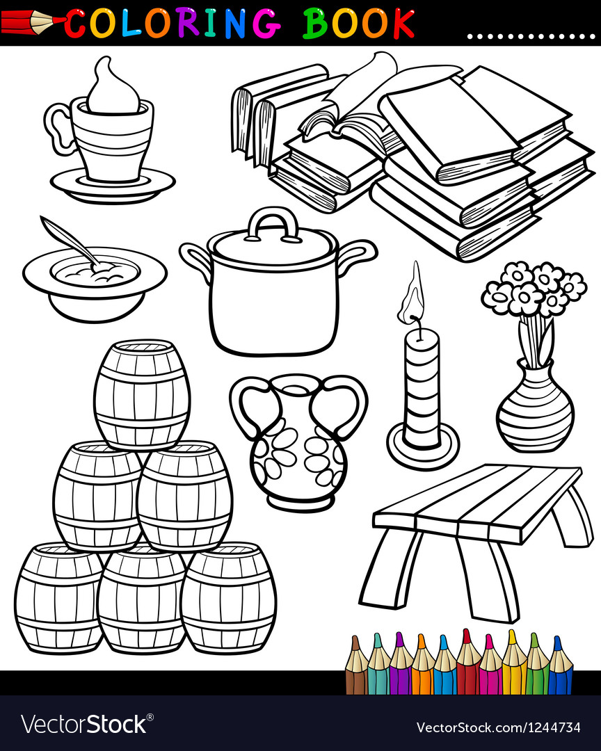 Cartoon Different Objects Coloring Page vector image